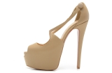 CL 16 cm nude cross hairtail mouth sandals AAA