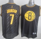 Brooklyn Nets #7 Joe Johnson Black Precious Metals Fashion Stitched NBA Jersey
