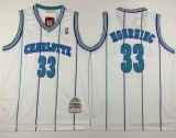 Mitchell And Ness Charlotte Hornets #33 Alonzo Mourning White Throwback Stitched NBA Jersey