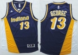 Indiana Pacers #13 Paul George Navy Blue Yellow Throwback Stitched NBA Jersey