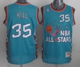 Mitchell And Ness Detroit Pistons #35 Grant Hill Light Blue 1996 All star Stitched NBA Jersey