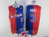 Los Angeles Clippers #3 Chris Paul Red Blue Split Fashion Stitched NBA Autographed Jersey