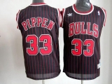 Chicago Bulls #33 Scottie Pippen Black With Red Strip Throwback Stitched NBA Jersey