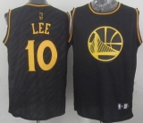 Golden State Warriors #10 David Lee Black Precious Metals Fashion Stitched NBA Jersey