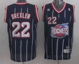 Houston Rockets #22 Clyde Drexler Navy Throwback Stitched NBA Jersey