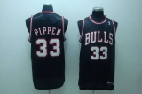 Chicago Bulls #33 Scottie Pippen Stitched Black White Number NBA Jersey