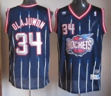 Houston Rockets #34 Hakeem Olajuwon Navy Throwback Stitched NBA Jersey