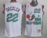 Mitchell And Ness Houston Rockets #22 Clyde Drexler White 1996 All star Stitched NBA Jersey