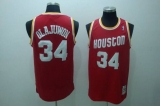 Mitchell and Ness Houston Rockets #34 Hakeem Olajuwon Stitched Red Throwback NBA Jersey