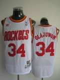 Mitchell and Ness Houston Rockets #34 Hakeem Olajuwon Stitched White Throwback NBA Jersey