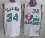 Mitchell And Ness Houston Rockets #34 Hakeem Olajuwon White 1996 All star Stitched NBA Jersey