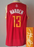 Revolution 30 Autographed Houston Rockets #13 James Harden Red Alternate Stitched NBA Jersey