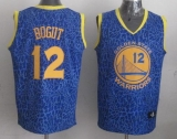 Golden State Warriors #12 Andrew Bogut Blue Crazy Light Stitched NBA Jersey
