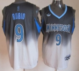 Minnesota Timberwolves #9 Ricky Rubio Black Grey Fadeaway Fashion Stitched NBA Jersey