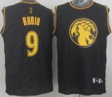 Minnesota Timberwolves #9 Ricky Rubio Black Precious Metals Fashion Stitched NBA Jersey