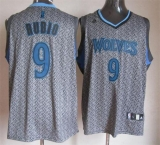 Minnesota Timberwolves #9 Ricky Rubio Grey Static Fashion Stitched NBA Jersey