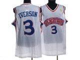 Mitchell and Ness Philadelphia 76ers #3 Allen Iverson Stitched White Throwback NBA Jersey