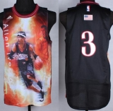Philadelphia 76ers #3 Allen Iverson Black Portrait Fashion Stitched NBA Jersey