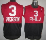 Philadelphia 76ers #3 Allen Iverson Black Red Nike Throwback Stitched NBA Jersey