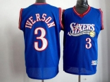 Philadelphia 76ers #3 Allen Iverson Blue Stitched Throwback NBA Jersey