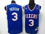 Philadelphia 76ers #3 Allen Iverson Blue Throwback Stitched NBA Jersey