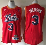 Philadelphia 76ers #3 Allen Iverson Nats Throwback Red Stitched NBA Jersey