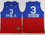 Philadelphia 76ers #3 Allen Iverson Red Blue Nike Throwback Stitched NBA Jersey