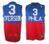 Philadelphia 76ers #3 Allen Iverson Red Blue Reebok 10TH Throwback Stitched NBA Jersey