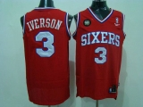 Philadelphia 76ers #3 Allen Iverson Red Reebok 10TH Throwback Stitched NBA Jersey