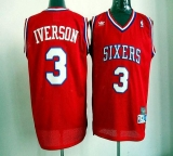 Philadelphia 76ers #3 Allen Iverson Red Throwback Stitched NBA Jersey