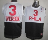 Philadelphia 76ers #3 Allen Iverson White Black Nike Throwback Stitched NBA Jersey