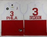 Philadelphia 76ers #3 Allen Iverson White Red Nike Throwback Stitched NBA Jersey