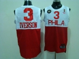 Philadelphia 76ers #3 Allen Iverson White Red Reebok 10TH Throwback Stitched NBA Jersey