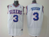 Philadelphia 76ers #3 Allen Iverson White Stitched Throwback NBA Jersey