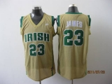 Miami Heat #23 LeBron James Earth Yellow Irish High School Stitched NBA Jersey