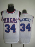 Philadelphia 76ers #34 Charles Barkley White Throwback Stitched NBA Jersey