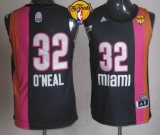 Miami Heat #32 Shaquille O\'Neal Black ABA Hardwood Classic Finals Patch Stitched NBA Jersey