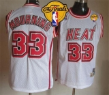 Miami Heat #33 Alonzo Mourning White Throwback Finals Patch Stitched NBA Jersey