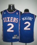 Throwback Philadelphia 76ers #2 Malone Blue Stitched NBA Jersey