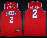 Throwback Philadelphia 76ers #2 Malone Red Stitched NBA Jersey
