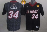 Miami Heat #34 Ray Allen Black New Latin Nights Finals Patch Stitched NBA Jersey