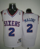 Throwback Philadelphia 76ers #2 Malone White Stitched NBA Jersey