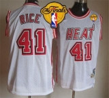 Miami Heat #41 Glen Rice White Throwback Finals Patch Stitched NBA Jersey