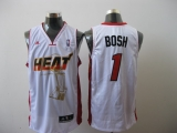 Miami Heat 2011 Championship #1 Chris Bosh White Stitched NBA Jersey