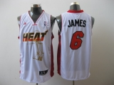 Miami Heat 2011 Championship #6 LeBron James White Stitched NBA Jersey