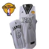 Miami Heat Finals Patch #6 LeBron James Silver No White Stitched NBA Jersey