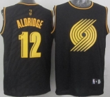 Portland Trail Blazers #12 Lamarcus Aldridge Black Precious Metals Fashion Stitched NBA Jersey