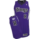 Sacramento Kings #8 Rudy Gay Purple Revolution 30 Stitched NBA Jersey