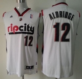 Portland Trail Blazers #12 Lamarcus Aldridge White Throwback Stitched NBA Jersey