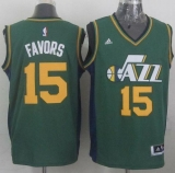 Revolution 30 Utah Jazz #15 Derrick Favors Green Stitched NBA Jersey